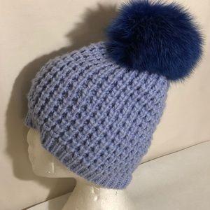 KYI KYI CANADA Fox Fur PomPom Knit Beanie
